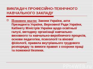 ВИКЛАДАЧ ПРОФЕСІЙНО-ТЕХНІЧНОГО НАВЧАЛЬНОГО ЗАКЛАДУПовинен знати: Закони України,