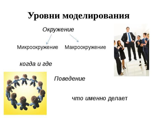 Уровни моделирования. При создании модели конкретной личности учитывается ряд различных уровней, систем и подсистем, в которых данная личность действовала и которые мы можем исследовать.На одном уровне, в частности, можно рассматривать влияние социа…