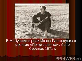 В.М.Шукшин в роли Ивана Расторгуева в фильме «Печки-лавочки». Село Сростки. 1971