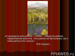 «И прекрасна моя родина – Алтай… Какая-то редкая, первозданная красота. Описыват
