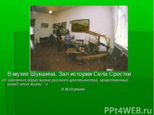 В музее Шукшина. Зал истории Села Сростки «Я запомнил образ жизни русского крест