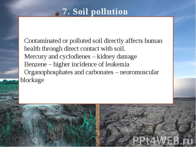 7. Soil pollution Contaminated or polluted soil directly affects human health through direct contact with soil. Mercury and cyclodienes – kidney damage Benzene – higher incidence of leukemia Organophosphates and carbonates – neuromuscular blockage