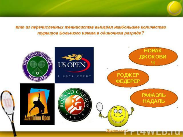 Кто из перечисленных теннисистов выиграл наибольшее количество турниров Большого шлема в одиночном разряде?