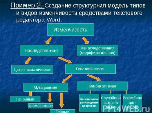 Пример 2. Создание структурная модель типов и видов изменчивости средствами текс