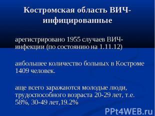 Зарегистрировано 1955 случаев ВИЧ-инфекции (по состоянию на 1.11.12) Зарегистрир