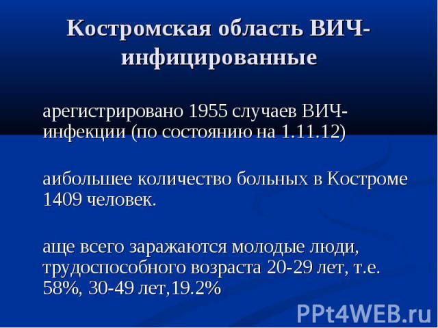 Зарегистрировано 1955 случаев ВИЧ-инфекции (по состоянию на 1.11.12) Зарегистрировано 1955 случаев ВИЧ-инфекции (по состоянию на 1.11.12) Наибольшее количество больных в Костроме 1409 человек. Чаще всего заражаются молодые люди, трудоспособного возр…