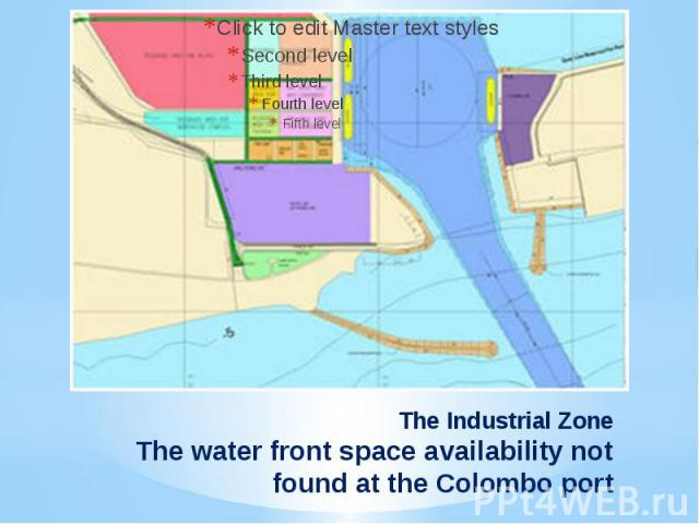 The Industrial ZoneThe water front space availability not found at the Colombo port