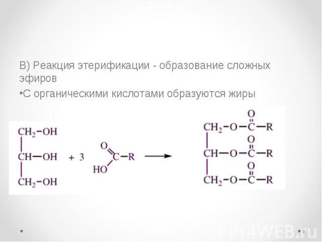 В) Реакция этерификации - образование сложных эфиров В) Реакция этерификации - образование сложных эфиров С органическими кислотами образуются жиры