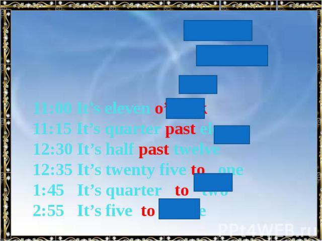 11:00 It's eleven o'clock 11:15 It's quarter past eleven 12:30 It's half past twelve 12:35 It's twenty five to one 1:45 It's quarter to two 2:55 It's five to three
