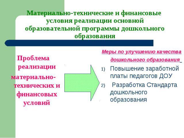 Проблема реализации материально-технических и финансовых условий