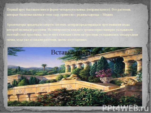 Первый ярус был выполнен в форме четырехугольника (неправильного). Все растения, которые были высажены в этом саду, привезли с родины царицы – Мидии.Архитекторы придумали хитрую систему, которая предотвращала просачивание воды, которой поливал…