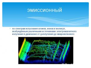 эмиссионный по спектрам испускания атомов, ионов и молекул, возбуждённым различн