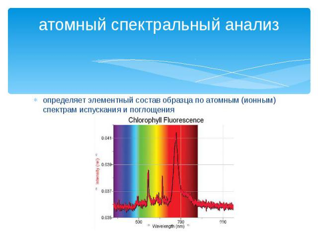 атомный спектральный анализопределяет элементный состав образца по атомным (ионным) спектрам испускания и поглощения