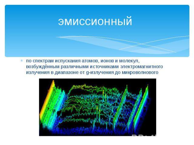 эмиссионный по спектрам испускания атомов, ионов и молекул, возбуждённым различными источниками электромагнитного излучения в диапазоне от g-излучения до микроволнового