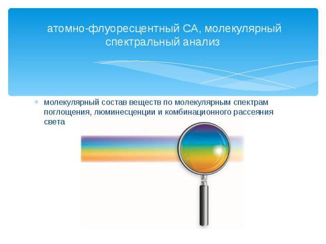 атомно-флуоресцентный СА, молекулярный спектральный анализмолекулярный состав веществ по молекулярным спектрам поглощения, люминесценции и комбинационного рассеяния света