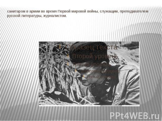 санитаром в армии во время Первой мировой войны, служащим, преподавателем русской литературы, журналистом.