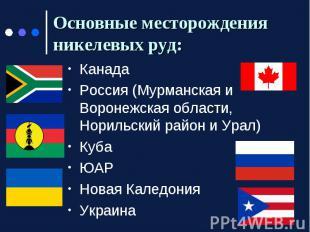 Основные месторождения никелевых руд: Канада Россия (Мурманская и Воронежская об
