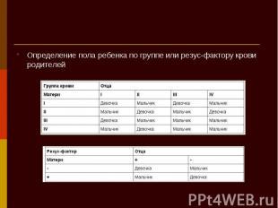 Определение пола ребенка по группе или резус-фактору крови родителей Определение