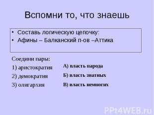 Составь логическую цепочку: Составь логическую цепочку: Афины – Балканский п-ов