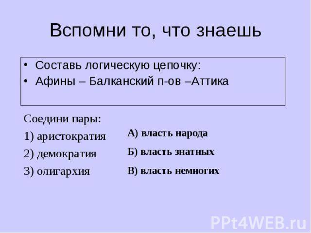 Составь логическую цепочку: Составь логическую цепочку: Афины – Балканский п-ов –Аттика