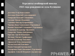 Курсанты снайперской школы 1925 года рождения из села Куликово Дупленко Егор Ник