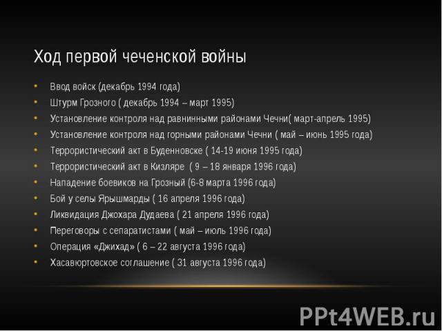 Ход первой чеченской войны Ввод войск (декабрь 1994 года) Штурм Грозного ( декабрь 1994 – март 1995) Установление контроля над равнинными районами Чечни( март-апрель 1995) Установление контроля над горными районами Чечни ( май – июнь 1995 года) Терр…