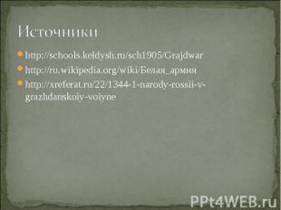 Источники http://schools.keldysh.ru/sch1905/Grajdwarhttp://ru.wikipedia.org/wiki