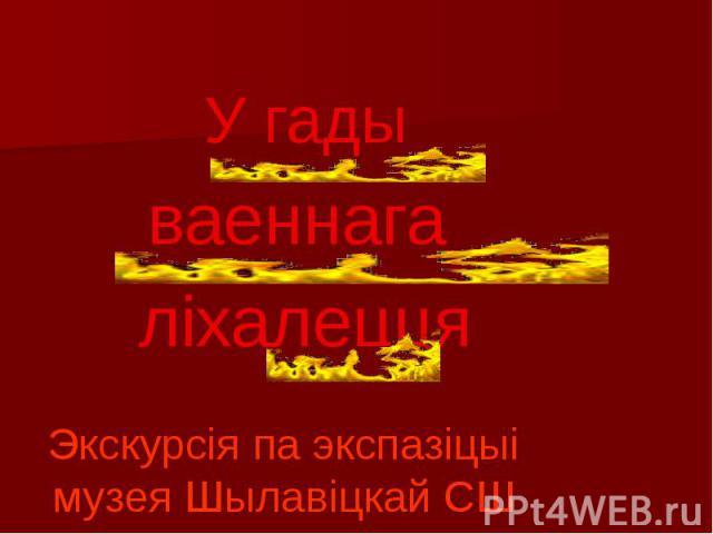 У гады ваеннага ліхалецця Экскурсія па экспазіцыі музея Шылавіцкай СШ