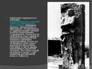 Карбышев содержался в немецких концентрационных лагерях: Замосць, Хаммельбург, Ф