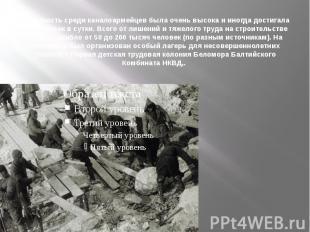 Смертность среди каналоармейцев была очень высока и иногда достигала 700 человек