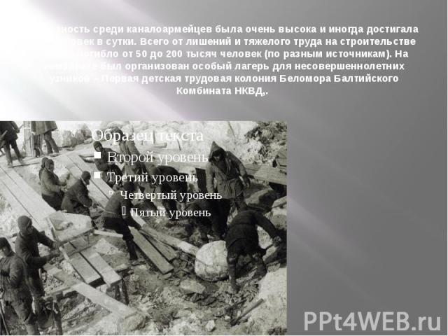Смертность среди каналоармейцев была очень высока и иногда достигала 700 человек в сутки.Всего от лишений и тяжелого труда на строительстве канала погибло от 50 до 200 тысяч человек (по разным источникам).На комбинате был организован осо…