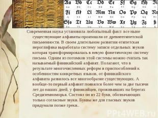 Современная наука установила любопытный факт: все ныне существующие алфавиты про