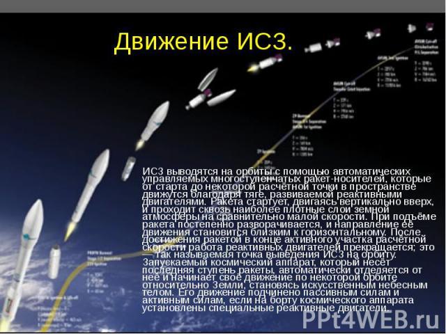ИСЗ выводятся на орбиты с помощью автоматических управляемых многоступенчатых ракет-носителей, которые от старта до некоторой расчётной точки в пространстве движутся благодаря тяге, развиваемой реактивными двигателями. Ракета стартует, двигаясь верт…