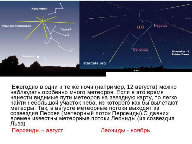 Ежегодно в одни и те же ночи (например, 12 августа) можно наблюдать особенно много метеоров. Если в это время нанести видимые пути метеоров на звездную карту, то легко найти небольшой участок неба, из которого как бы вылетают метеоры. Так, в августе…