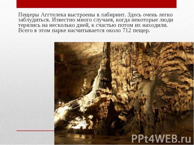 Пещеры Аггтелека выстроены в лабиринт. Здесь очень легко заблудиться. Известно много случаев, когда некоторые люди терялись на несколько дней, к счастью потом их находили. Всего в этом парке насчитывается около 712 пещер. Пещеры Аггтелека выстроены …