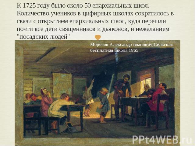 """К 1725 году было около 50 епархиальных школ. Количество учеников в цифирных школах сократилось в связи с открытием епархиальных школ, куда перешли почти все дети священников и дьяконов, и нежеланием """"посадских людей"""""""