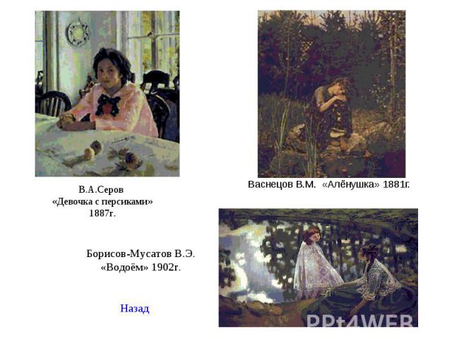 Васнецов В.М. «Алёнушка» 1881г. Васнецов В.М. «Алёнушка» 1881г.