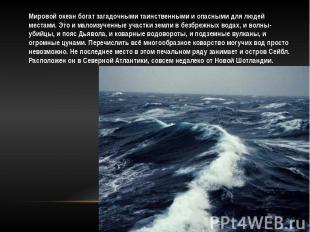 Мировой океан богат загадочными таинственными и опасными для людей местами. Это