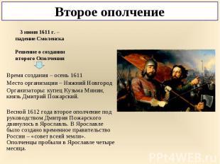 Время создания – осень 1611 Место организации – Нижний Новгород Организаторы: ку