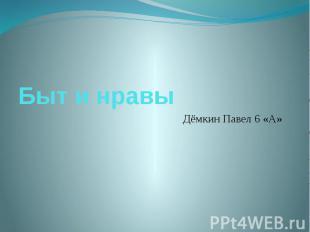 Быт и нравы Дёмкин Павел 6 «А»