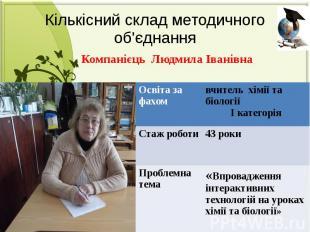 Кількісний склад методичного об'єднання Компанієць Людмила Іванівна