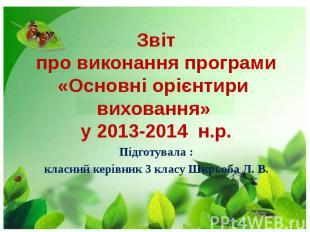 Звіт про виконання програми «Основні орієнтири виховання» у 2013-2014 н.р. Підго