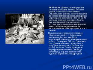11.01-13.01. Дивізія, яка форсувала головними силами Тясмин і болото Ірдинь, вел