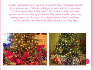 Family wrapped presents are placed near the tree, including presents to be given