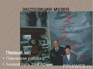 экспозиция музея Первый залПоисковая работаБоевой путь 39-й Армии