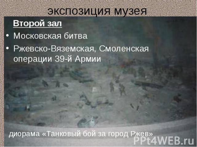 экспозиция музея Второй залМосковская битваРжевско-Вяземская, Смоленская операции 39-й Армии