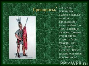 3-я группа – принципсы. вооружённая как гастаты. Принципсов и гастатов было по 1