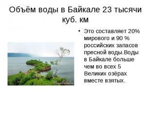 Это составляет 20% мирового и 90 % российских запасов пресной воды.Воды в Байкал