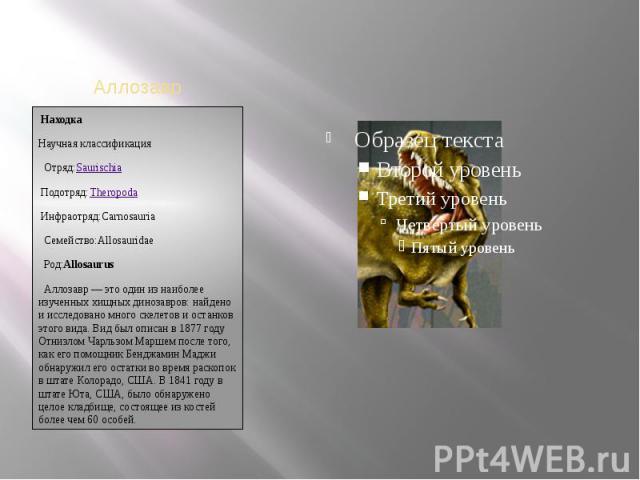 НаходкаНаучная классификацияОтряд:Saurischiaэто один из наиболее изученных хищных динозавров: найдено и исследовано много скелетов и останков этого вида. Вид был описан в 1877 году Отнизлом Чарльзом Маршем после того, как его помощник Бенджамин…