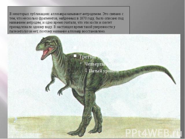 АллозаврВ некоторых публикациях аллозавра называют антродемом. Это связано с тем, что несколько фрагментов, найденных в 1870 году, было описано под названием антродем, и одно время считали, что эти кости и скелет принадлежали одному виду. В настояще…